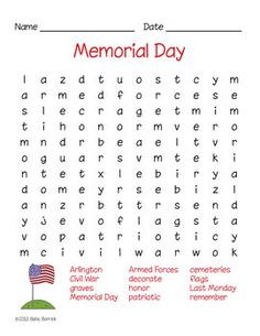 FREE Memorial Day Word Search for early elementary.  Includes answer sheet! Part of my Spring Days Word Search Pack. FREE until 5-27-13