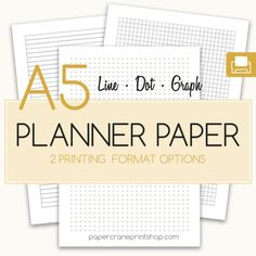 A5 line, dot, graph paper inserts. Planner inserts for A5 planners and bullet journals!