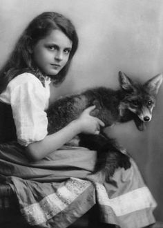 Girl with Fox Unusual Vintage Photography by EclecticForest