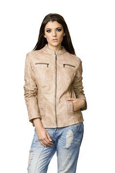 Leather #Jacket Renzo Costa #Casaca  #Chaqueta #Cuero DC D15 W - 3153 / 3033 LAMB TAQUILLA BEIGE