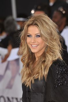 Julianne Houghs dark blonde hair. .