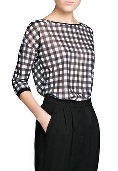 Bluza negru cu alb in carouri Elton de la MANGO si multe alte produse similare pe Fashion Days