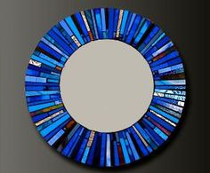 Mosaic blue glass stained mirror