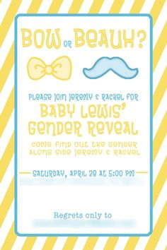 Baby reveal party invite - bow or beaux? - #genderreveal #babyshower #babyreveal