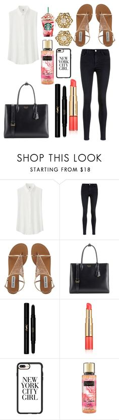 """""""Untitled #10156"""" by ohnadine ❤ liked on Polyvore featuring Uniqlo, Victoria, Victoria Beckham, Prada, Yves Saint Laurent, Estée Lauder, Casetify and Fred Leighton"""