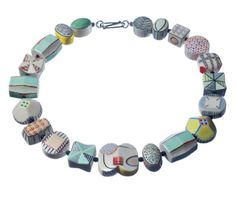 Karen T. Massaro: , Necklace #2 in porcelain with black onyx spacer beads and sterling silver clasp.