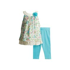 Baby Girl Youngland Floral-Print Crocheted Tunic & Leggings Set, Size: 18 Months, White Oth