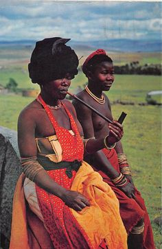 "Africa | ""A typical Transkeian scene ~ An Old woman and her pipe"".  South Africa.  Post stamped 1969 