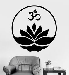 Removable Home Decor Wall Stickers Buddha Om Lotus Meditation Decal Vinyl Wall Decals CW-13