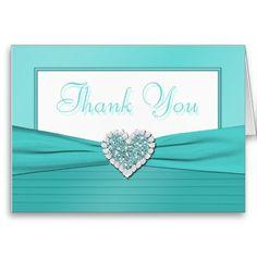 Aqua Blue and White Glitter Heart Thank You Card