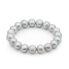 Grey Off Round Pearl Stretch Fit Bracelet
