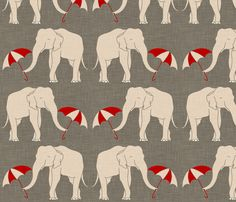 elephant_and_umbrella fabric by holli_zollinger on Spoonflower - custom fabric