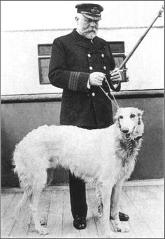 The Titanic's Captain Smith, holding a Russian wolfhound called Ben, named for industrialist Benjamin Guggenheim, who gave the captain the dog as a gift for his daughter. But Ben never made the journey, as he disembarked before the ship sailed. Hiroshima, Nagasaki, Rms Titanic, Titanic Wreck, Titanic Movie, Belfast, John Smith, Edward Smith, James Smith