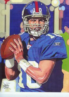 Eli Manning, NY Giants by Neal Portnoy. Football Art, Football Helmets, Sports Art, Sports Decor, Sports Teams, Iron Art, Cartoon Faces, New York Giants, Cool Artwork