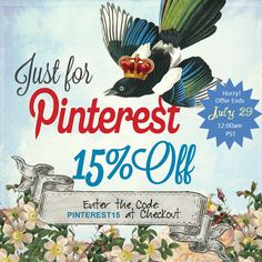 For my Pinterest Pals...15% off with this coupon until Midnight on July 29th!  www.etsy.com/shop/2MagpiesForJoy #soap