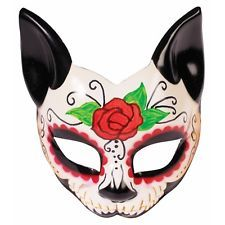 Day of the Dead Mask Cat Sugar Skull Dia de Los Muertos Adult Halloween Costume