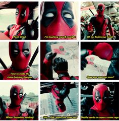 "Deadpool being Deadpool | ""the superhero landing"" scene is my favourite XD"