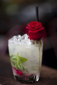 The Giggly Rose==gin,sparkling wine, rose water and lemon juice cocktail.
