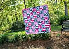 Pink & Grey Quilt on Etsy, $100.00