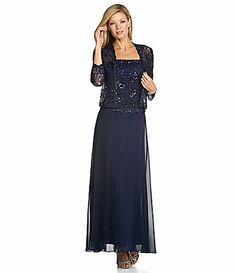 Ignite Evenings Woman Beaded Lace Jacket Dress #Dillards color is Sapphire