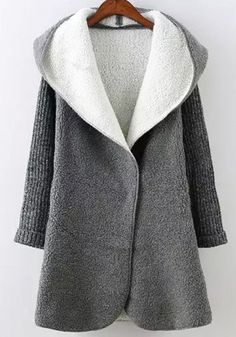 Grey Patchwork Pockets Hooded Fashion Wool Coat