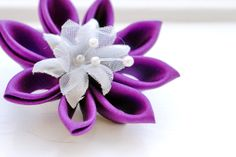 Violet Hair Flower  Purple Silk Hair Clip / by cuttlefishlove, £12.00