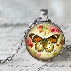 1pcs-Vintage-butterfly-Cabochon-Tibetan-silver-Glass-Chain-Pendant-Necklace-b2