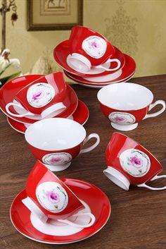 Red Life Serisi 6 Kişilik Çay Seti M34-RED305 Neşeli Mutfaklar | Trendyol