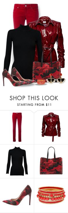 """""""Valentino Red Camo Boots & Heels"""" by majezy ❤ liked on Polyvore featuring Armani Jeans, Magda Butrym, Alaïa, Valentino and Lalique"""