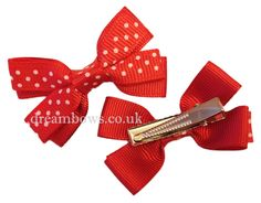 Red grosgrain ribbon hairbows on alligator clips - www.dreambows.co.uk #hairbows #polkadotbows #girlsbows