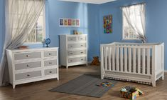 Pali Treviso crib and dressers in white with grey accents.  Nice modern nursery look.