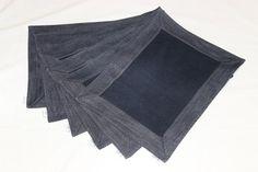 Denim 6 pieces napkin set , placemat , denim serviette , table serviette , party placemats , upcycled denim napkin , celebrate table mat , by SecondBirthday on Etsy