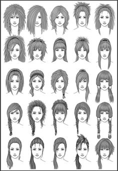 Women's Hair - Set 3   - Different Hairstyles for Girls - Character Design and Drawing Reference