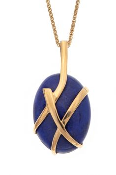 "Nicholas Wylde - Lapis Lazuli set pendant incorporating the distinctive gold cross-over design suspended on a yellow gold spiga chain, from the Nicholas Wylde ""Kiss"" range. LL: 25x20mm, 18ct yellow gold"