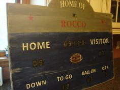 Sports Scoreboard Custom Rustic Board Sign - Football Basketball Baseball Hockey Decor. $200.00, via Etsy.