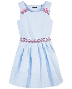 Tommy Hilfiger Girls' Embroidered Open-Back Dress