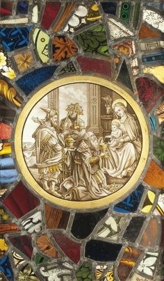 A FLEMISH SILVER-STAIN GLASS ROUNDEL OF THE ADORATION OF THE MAGI -  19TH CENTURY