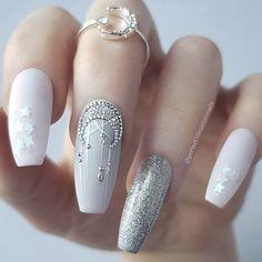Nail Shapes - My Cool Nail Designs Winter Nail Designs, Nail Art Designs, Cute Nails, Pretty Nails, Nagel Hacks, Moon Nails, Gorgeous Nails, Winter Nails, Nail Tips