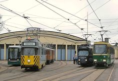 Trams of Helsinki, a line up, the yellow one is for maintenance.