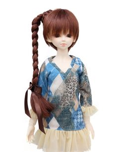 Wigs2dolls.com 人形・ドールウィッグ通販専門店 Doll Wig Online Store  WD60-004  サイドに一本の三つ編みテール☆可愛く個性的なしたいるならコレ! ロングウィッグです!リボンがかわいい! #Blythe #BJD #SD #SuperDofflie #Wig #Cosplay #Halloween #Fashion #Wedding #Hair #ヘア #ブライス