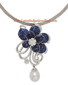 Sapphire Diamond Pendant in White Gold | Latest Indian Jewellery Designs