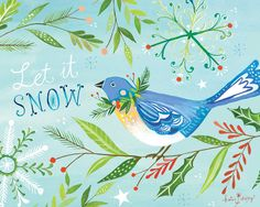 Snowbird Holiday Print | Watercolor Lettering | Christmas Wall Art | Katie Daisy | 8x10 by thewheatfield on Etsy https://www.etsy.com/listing/253528917/snowbird-holiday-print-watercolor