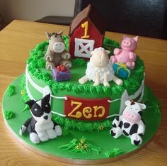 "'Farmyard' 10"" sponge cake.  All decorations had made and edible"