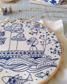 """""""Blue Ocean"""" #embroiderykit is finally on my etsy shop"""