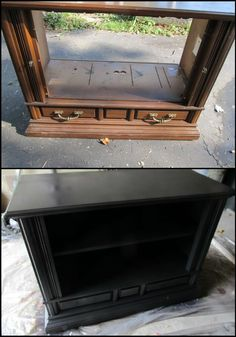 rescued t.v. console modified into a useful piece of furniture