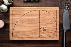 Fibonacci Golden Spiral Cutting Board Science by ElysiumWoodworks