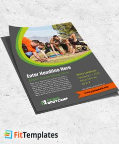 Fitness bootcamp flyer template for group training on FitTemplates.com