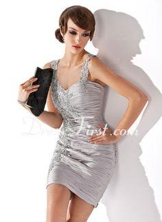 Sheath Sweetheart Short/Mini Charmeuse Cocktail Dress With Ruffle Beading (002024407)