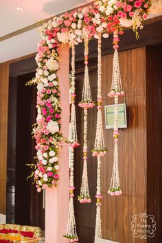 Wedding Decorations Gate Red - pretty hanging floral decor in pink and white in 2019 Desi Wedding Decor, Pink Wedding Decorations, Diwali Decorations, Ceremony Decorations, Flower Decorations, Wedding Ideas, Wedding Themes, Housewarming Decorations, Ganapati Decoration