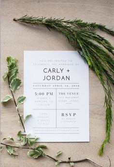 Modern Wedding Invitation Minimalist by ChynnaHansenDesigns